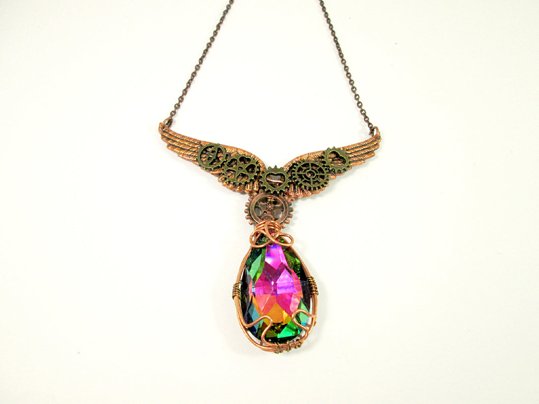 steampunk wings crystal necklace