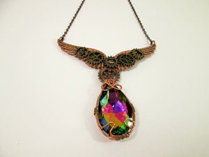 rainbow crystal clockwork gears steampunk angel wings necklace