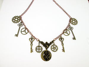 steampunk gears and keys necklace