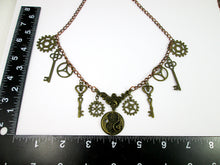 Load image into Gallery viewer, steampunk necklace with measurement