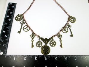 steampunk necklace with measurement