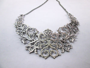 silver metal lace bib necklace