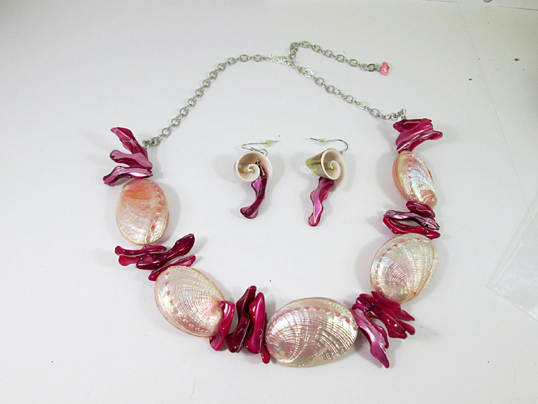 pink abalone shell necklace and earrings set