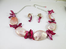 Load image into Gallery viewer, pink mermaid necklace and earrings set