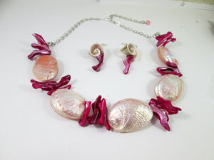 pink mermaid necklace and earrings set