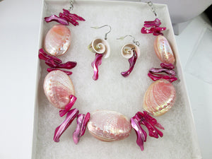 pink coral seashell necklace and earrings set