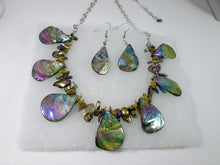 Load image into Gallery viewer, iridescent rainbow bronze seashell necklace and earrings set