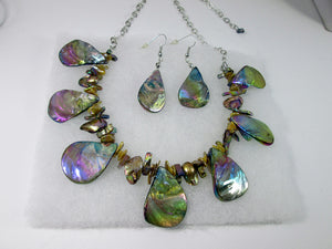 iridescent rainbow bronze seashell necklace and earrings set