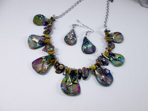 back view or rainbow bronze seashell and pearl necklace and earrings set