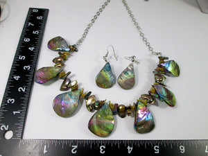 rainbow bronze seashell and pearl necklace and earrings set