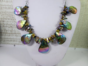 rainbow bronze seashell and pearl necklace
