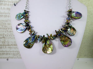 back view of rainbow bronze shell and pearl necklace
