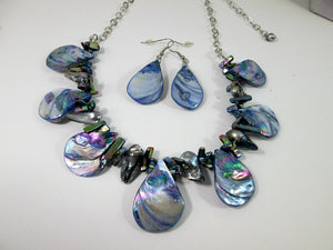 iridescent rainbow blue mother of pearl necklace and earrings set