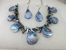 Load image into Gallery viewer, front view of rainbow blue seashell and pearl necklace and earrings set