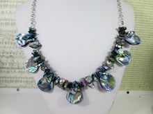 Load image into Gallery viewer, back view of rainbow blue seashell and pearl necklace