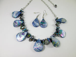 rainbow blue seashell and pearl necklace and earrings set