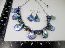 Load image into Gallery viewer, rainbow blue seashell and pearl necklace and earrings set with measurement