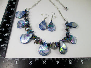 rainbow blue seashell and pearl necklace and earrings set with measurement