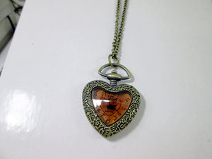 heart shape watch necklace