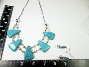 turquoise bib necklace and earrings set with measurement