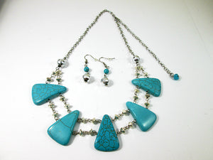 big bold chunky turquoise necklace and earrings set