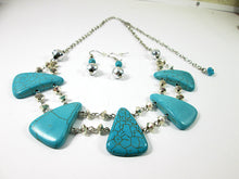 Load image into Gallery viewer, turquoise bib necklace and earrings set