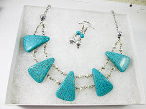 big bold chunky turquoise statement necklace and earrings set