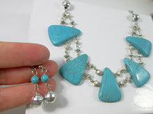 Load image into Gallery viewer, closeup view of turquoise statement necklace and earrings set