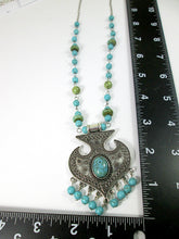 Load image into Gallery viewer, turquoise tassel necklace with measurement