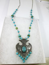 Load image into Gallery viewer, long boho turquoise tassel necklace