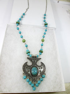 long boho turquoise tassel necklace