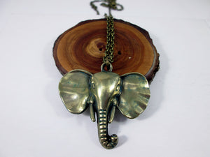 vintage bronze elephant necklace
