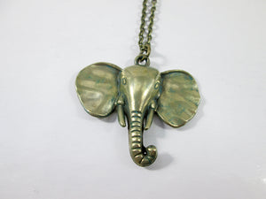 antique bronze elephant necklace