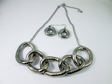 Load image into Gallery viewer, chunky silver five circles interlocking necklace and earrings set