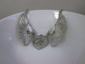 steampunk wings heart crystal necklace