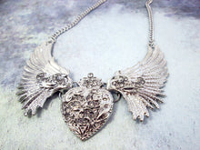 Load image into Gallery viewer, steampunk wing heart necklace