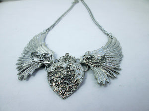crystal heart wing necklace