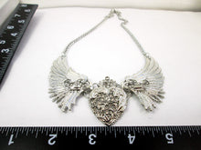Load image into Gallery viewer, steampunk wing heart necklace with measurement