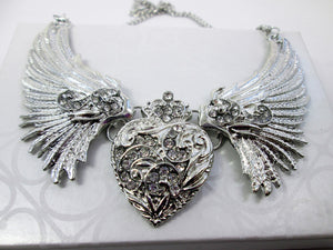 silver wing heart bib necklace