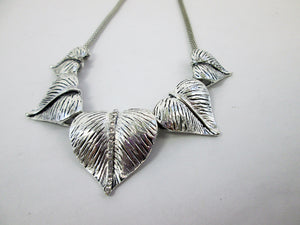 silver leaves statement necklace