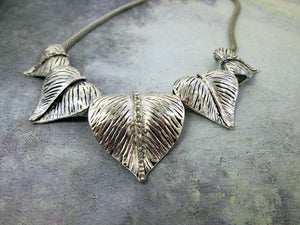 silver leaves choker necklace