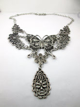 Load image into Gallery viewer, retro silver butterfly statement necklace