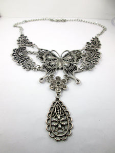 retro silver butterfly statement necklace