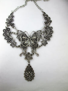 steampunk butterfly bib necklace