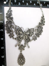 Load image into Gallery viewer, butterfly bib necklace with measurement