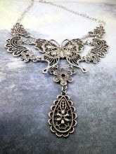 Load image into Gallery viewer, antique silver large butterfly bib necklace