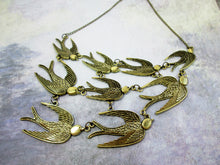 Load image into Gallery viewer, antique bronze flock of sparrows necklace