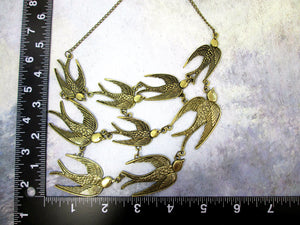 flock of birds bib necklace with measurement