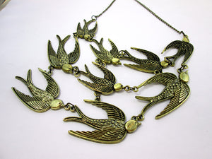 steampunk flock of birds bib necklace