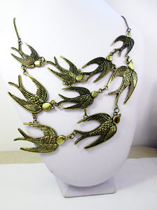 flock of birds bib necklace